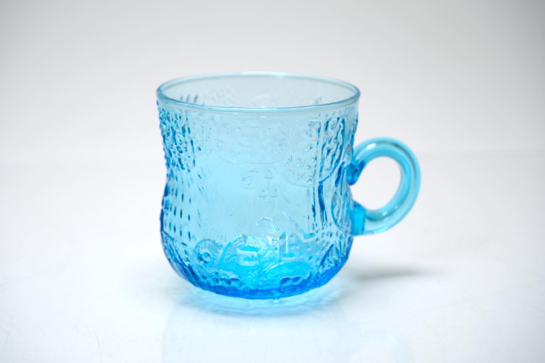 画像1: 北欧ビンテージガラス/Oiva Toikka/オイバ・トイッカ/ファウナ/NUUTAJARVI/ヌータヤルヴィ/ブルー/グラスハンドル付き (1)