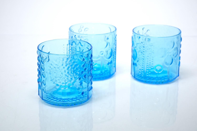画像1: 北欧ビンテージガラス/オイバトイッカ/フローラ/ヌータヤルヴィ/グラス/ライトブルー (1)