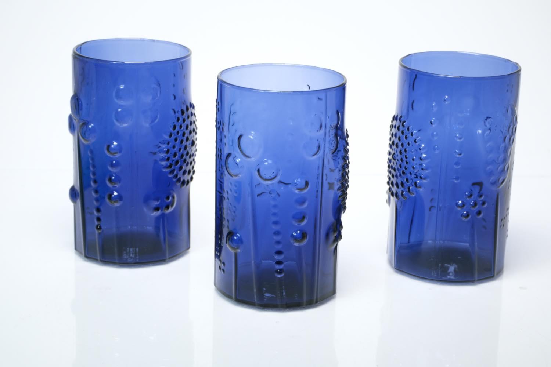 画像1: 北欧ビンテージガラス/オイバトイッカ/フローラ/ヌータヤルヴィ/グラス/ダークブルー (1)