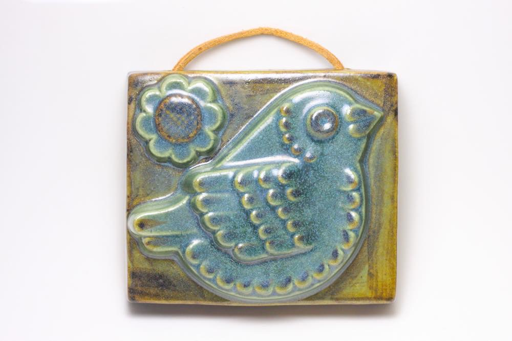 画像1: Fischer Stengods/陶板の壁掛け/小鳥 (1)