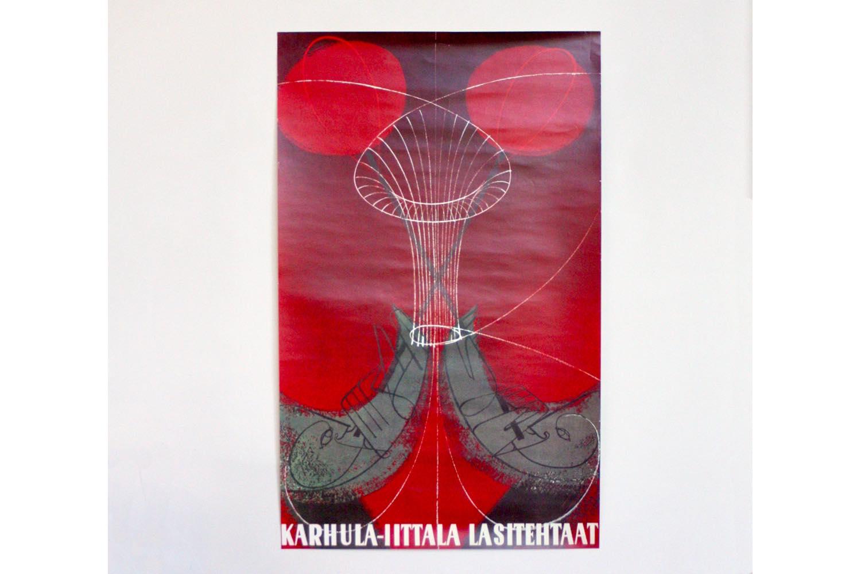 画像1: 北欧ビンテージポスター/Timo Sarpaneva Karhula Iittala Lasitehtaat/1951年 (1)