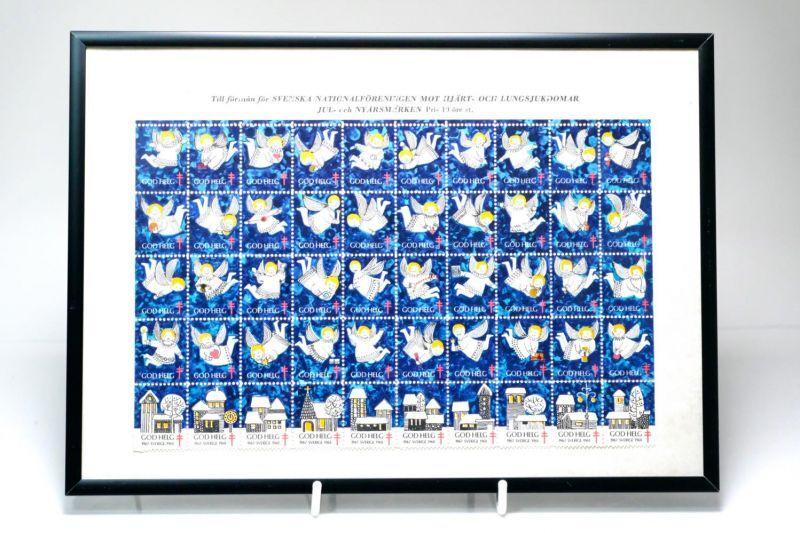 画像1: 北欧スウェーデン/ビンテージクリスマスシート切手/フレーム付き/1968年/スウェーデン/天使 (1)