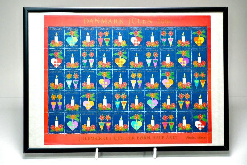 画像1: 北欧デンマーク/ビンテージクリスマスシート切手/フレーム付き/2006年/デンマーク/キャンドル (1)
