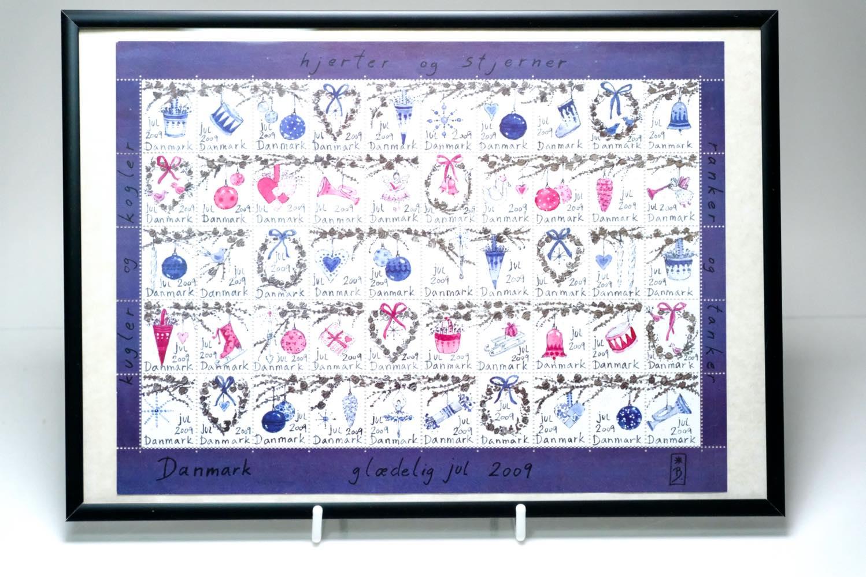 画像1: 北欧デンマーク/ビンテージクリスマスシート切手/フレーム付き/2009年/デンマーク/クリスマスオーナメント (1)