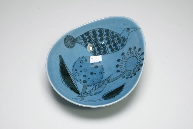 画像1: Rorstrand/ロールストランド/Sylvia Leuchovius/絵皿/ブルー小鳥&花  (1)