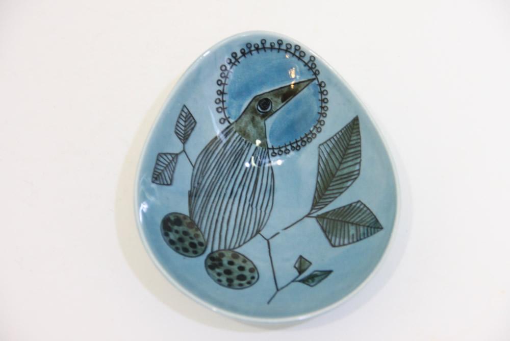 画像1: Rorstrand/ロールストランド/Sylvia Leuchovius/絵皿/ブルー小鳥 (1)