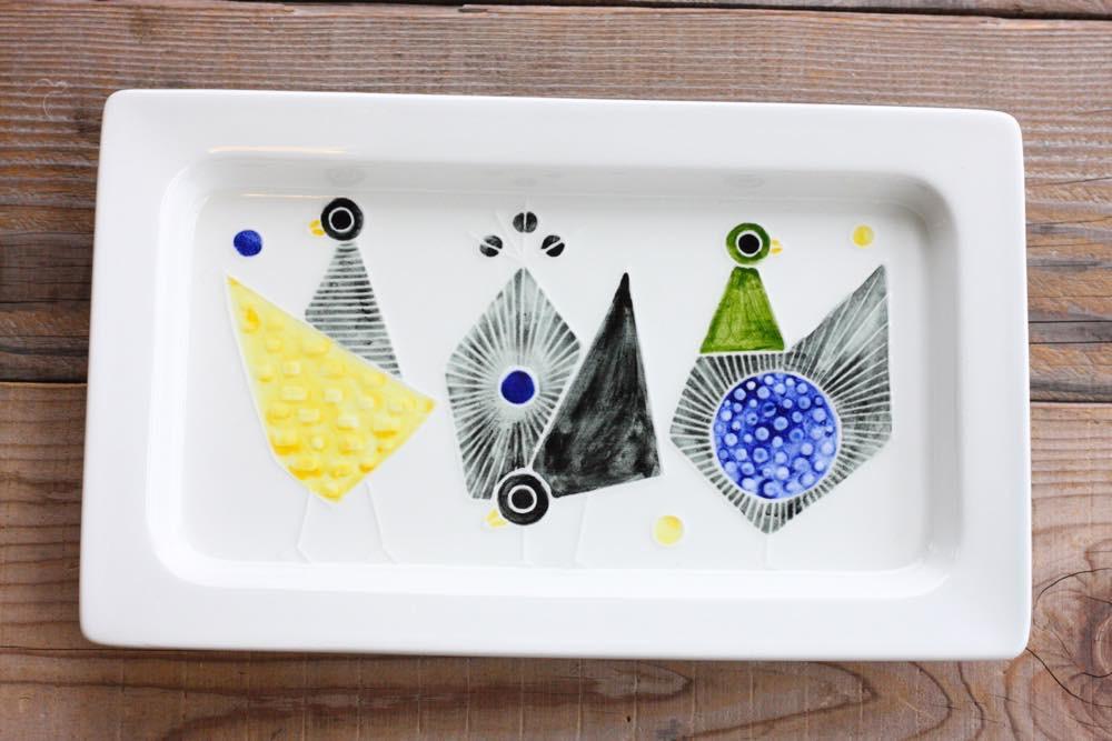 画像1: Rorstrand/ロールストランド/Sylvia Leuchovius /シルヴィア・レウショヴィウス /スクエアー小鳥絵皿 (1)
