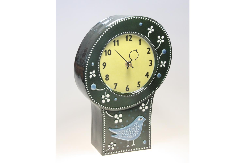 画像1: 北欧ビンテージ/Rorstrand/ロールストランド/Sylvia Leuchovius /シルヴィア・レウショヴィウス/ 置き時計小鳥/グリーン (1)