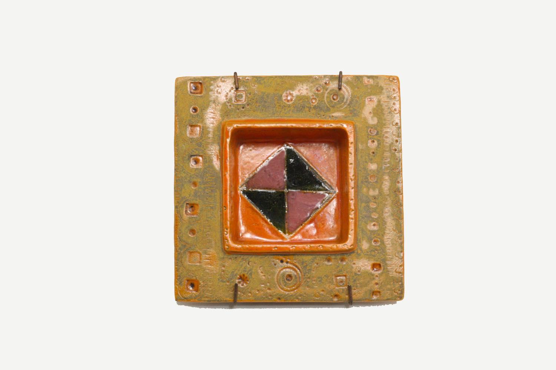 画像1: 北欧ビンテージ/北欧アート/Rut Bryk/ルート・ブリュック/Ashtray/陶板/11cm/オレンジ系 (1)