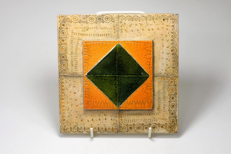 画像1: 北欧ビンテージ/北欧アート/Rut Bryk/ルート・ブリュック/陶板/アートオブジェクト/オレンジ&グリーン/No.2/委託品 (1)