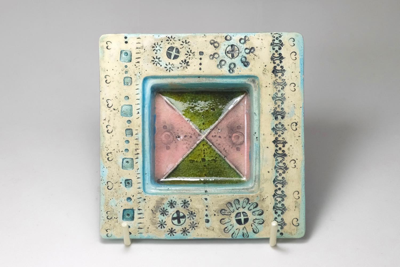画像1: 北欧ビンテージ/北欧アート/Rut Bryk/ルート・ブリュック/Ashtray/アートオブジェクト/11cm/ホワイト&ブルー系/委託品 (1)