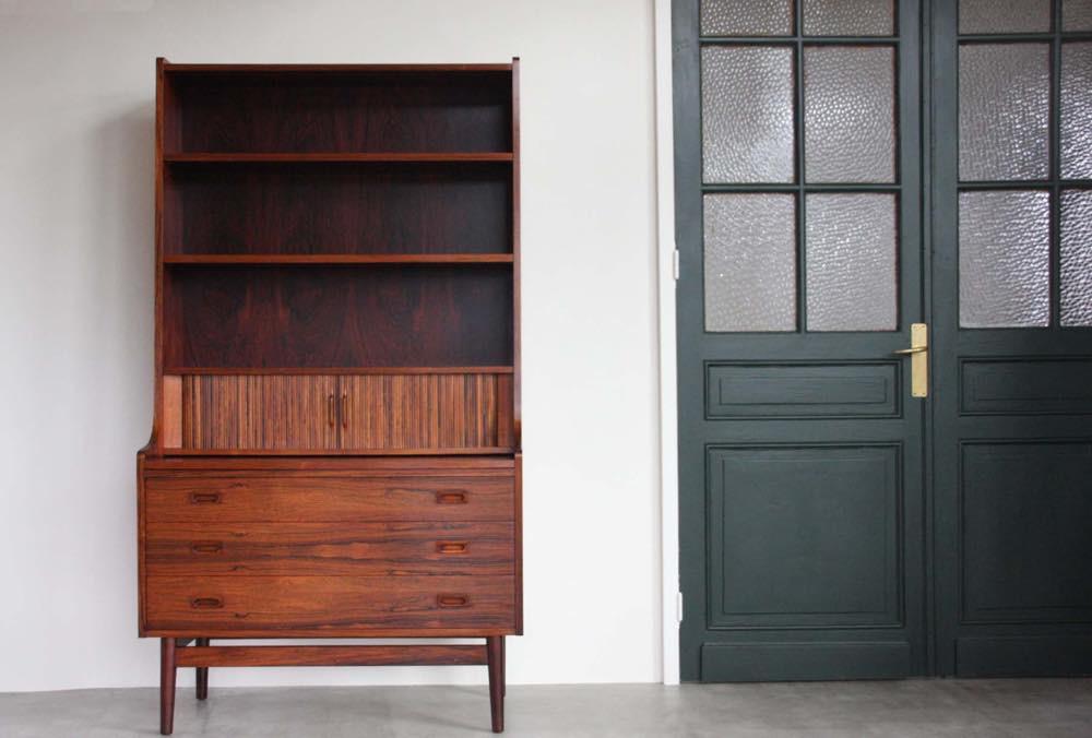 画像1: 北欧ビンテージ家具/デンマーク/ブックシェルフ+ライティングディスク/ローズウッド (1)