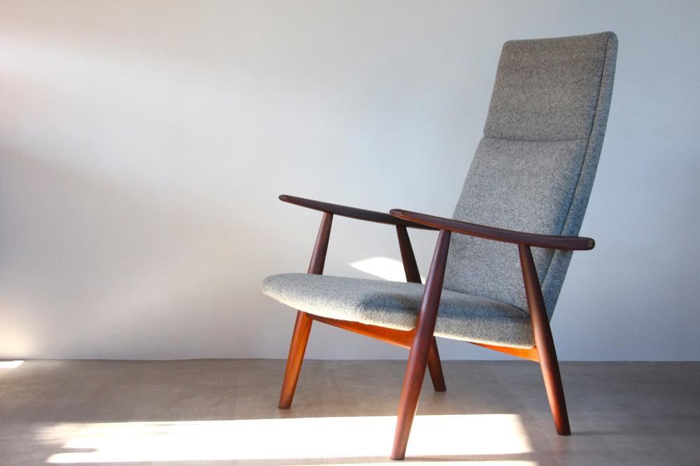画像1: 北欧家具 / ヴィンテージ / Hans j Wegnerハンス J ウェグナー / GE260A イージーチェアハイバック / デンマーク製ファブリック (1)