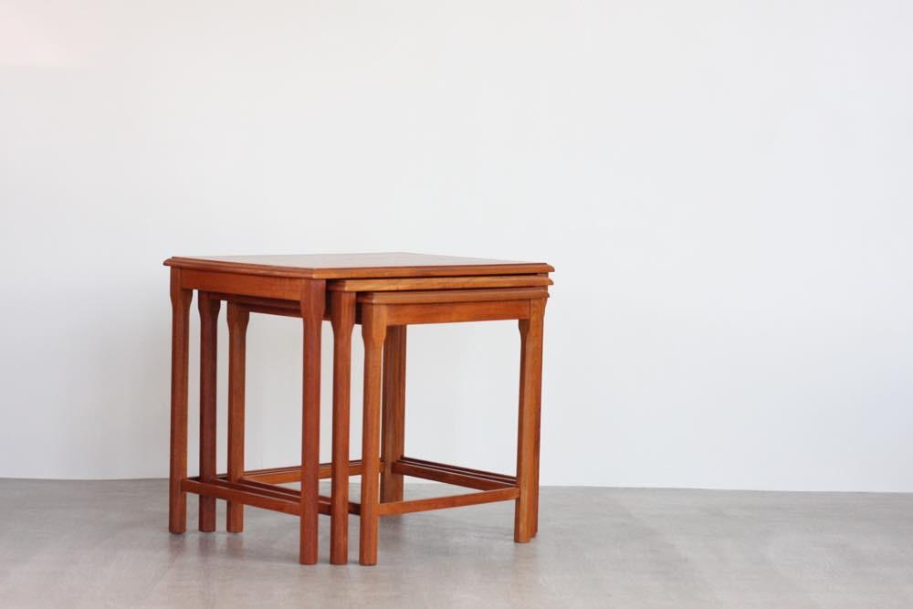 画像1: 北欧ビンテージ家具/デンマーク/チークネストテーブル  (1)