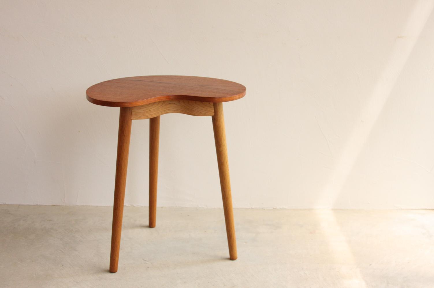 画像1: 北欧ビンテージ家具/デンマーク/チーク/サイドテーブル/ビーンズ型 (1)
