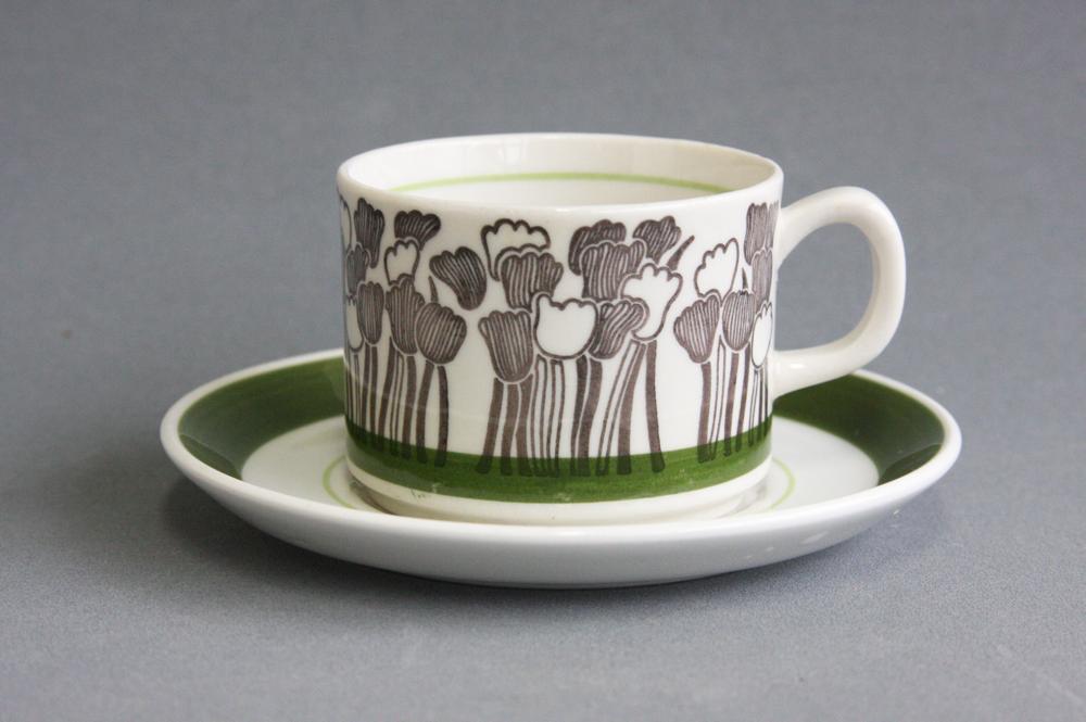 画像1: Upsala Ekeby ウプサラ GEFLEゲフレ Tulpanチューリップ コーヒーカップ&ソーサー (1)